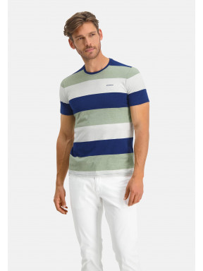 T-shirt-encolure-ronde-à-rayures---cobalt/chlorophylle
