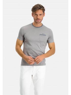 T-shirt-à-poche-poitrine---gris-claire/cobalt