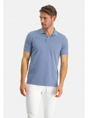 Polo-piqué-á-regular-fit---gris-bleu-uni