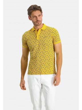 Polo-piqué-manches-courtes-imprimé---sulfureux/jaune-clair