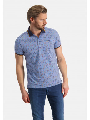 Polo-jersey-en-coton-bio---gris-bleu/blue-foncé