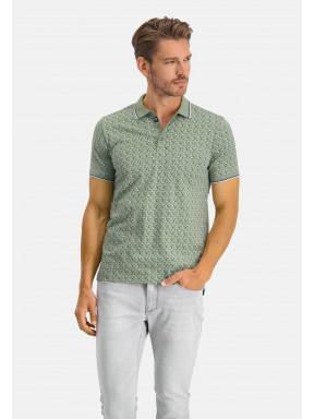 Polo-Jersey-manches-courtes-imprimé---/chlorophylle/cobalt