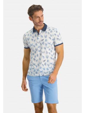 Polo-Jersey-manches-courtes-imprimé---blanc/blue-foncé