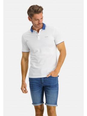 Polo-100%-coton-Supima---blanc/cobalt