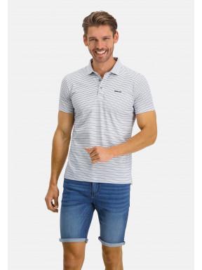Polo-Jersey-manches-courtes-à-rayures---blanc/cobalt