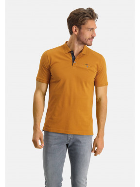 Polo-piqué-en-coton-Pima---mango-monochrome