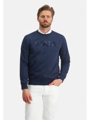 Sweatshirt-met-een-artwork---donkerblauw-uni
