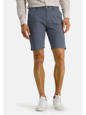 Short-à-rayures-en-coton-stretch---blue-foncé/blanc