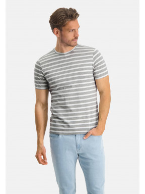 Modern-Classics-T-shirt-met-strepen---lichtgrijs/wit