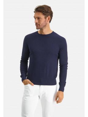 Modern-Classics-trui-van-een-Pima-katoen-mix---donkerblauw-uni