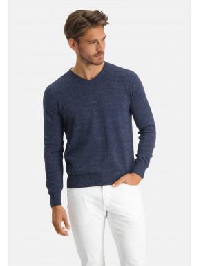 Modern-Classics-V-hals-trui---donkerblauw-uni