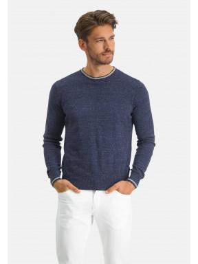 Modern-Classics-trui-met-contrast-streep---donkerblauw-uni
