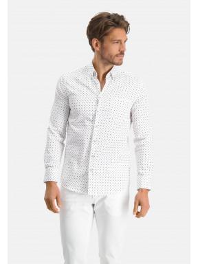 Modern-Classics-modern-fit-overhemd---donkerblauw/bladgroen