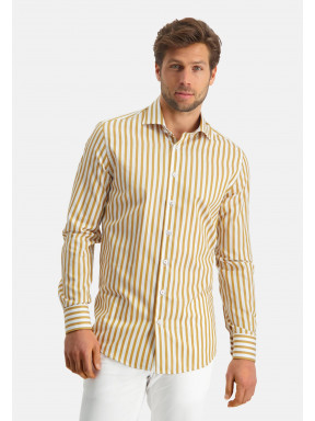 Modern-Classics-overhemd-met-strepen---okergeel/wit
