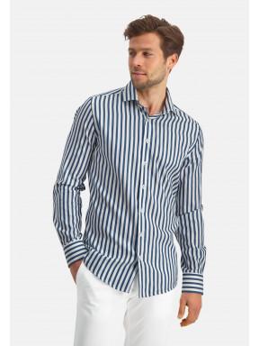 Modern-Classics-overhemd-met-strepen---kobalt/wit