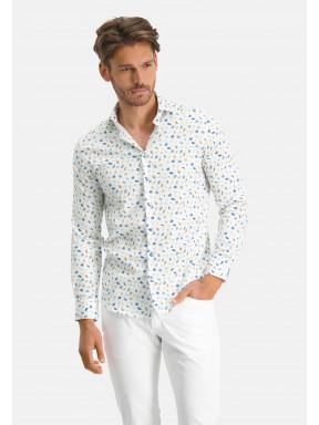 Modern-Classics-overhemd-met-botanische-print---kobalt/zand