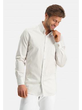 Modern-Classics-overhemd-van-katoen-stretch---zand/wit