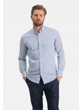 Modern-Classics-overhemd-van-katoen-stretch---kobalt/wit