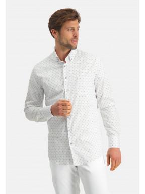 Modern-Classics-overhemd-met-fijne-print---kobalt/wit