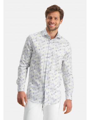 Modern-Classics-overhemd-van-katoen-stretch---kobalt/zand