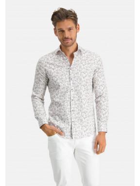 Modern-Classics-overhemd-met-satijn-look---zand/donkerbruin