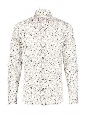 Modern-Classics-overhemd-met-een-all-over-print---zand/donkerbruin