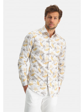 Modern-Classics-overhemd-van-katoen-stretch---lichtgeel/donkerbruin
