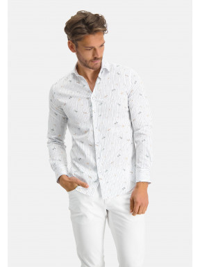 Modern-Classics-overhemd-met-een-libelleprint---kobalt/lichtgeel
