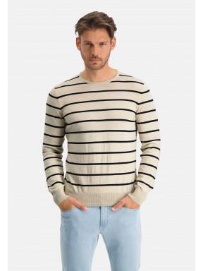 Modern-Classics-gestreepte-trui---gebroken-wit/donkerblauw