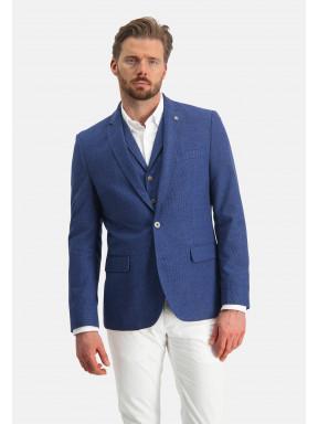Modern-fit-blazer-van-een-polyester-mix---kobalt-uni