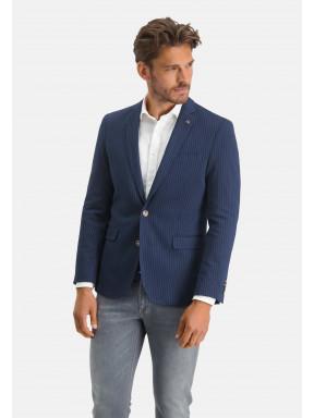 Gestreepte-blazer-met-een-modern-fit---donkerblauw/wit
