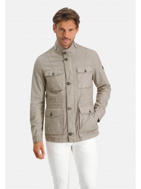 Manteau-mi-long-à-regular-fit---vert-brun-uni