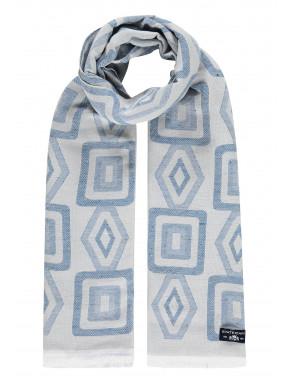 Sjaal-met-korte-franjes---wit/kobalt