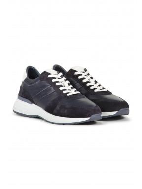 Sneaker-van-suède-en-leer---donkerblauw-uni