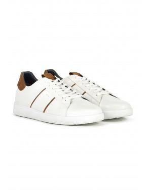 Lage-sneaker-met-vetersluiting---wit/zand