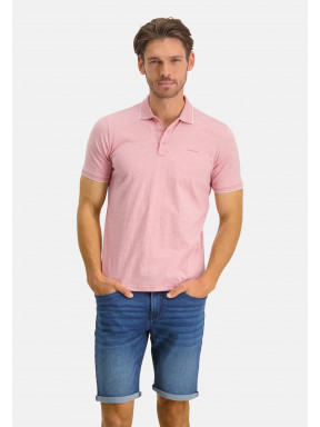 Katoenen-polo-met-regular-fit---roze-uni