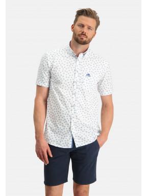 Korte-mouw-overhemd-met-regular-fit---wit/kobalt