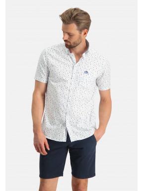 Stretch-overhemd-met-printdessin---wit/kit
