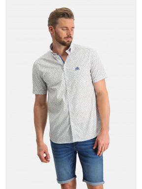Overhemd-met-een-all-over-print---wit/zand