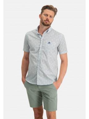 Button-down-overhemd-met-print---wit/mosgroen