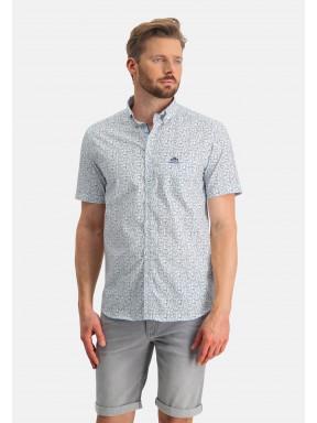 Button-down-overhemd-met-print---wit/grijsblauw