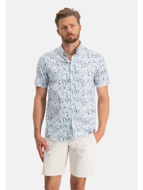 Regular-fit-overhemd-met-flessenprint---wit/kobalt