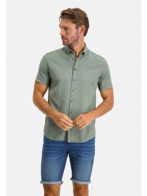 Overhemd-van-een-linnen-mix---mosgroen-uni