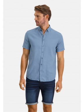 Overhemd-van-een-linnen-mix---grijsblauw-uni