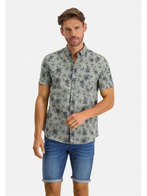 Overhemd-met-een-bloemenprint---mosgroen/donkerblauw