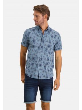 Overhemd-met-een-bloemenprint---grijsblauw/donkerblauw