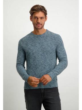 Structuurgebreide-trui-in-wol-look---donkerblauw/grijsblauw