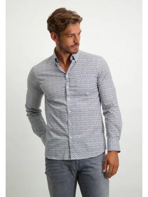 Katoenen-overhemd-met-een-geometrische-print---donkerblauw/zilvergrijs