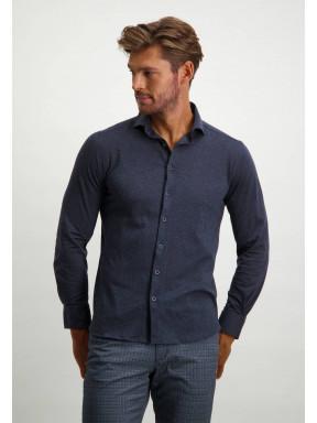 Overhemd-van-100%-katoen---donkerblauw-uni