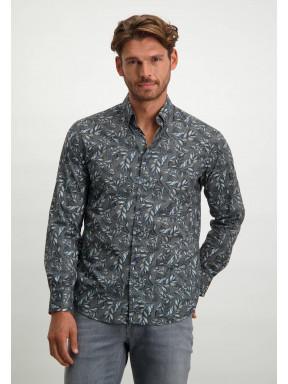 Chemise-à-imprimé---blue-foncé/gris-argenté